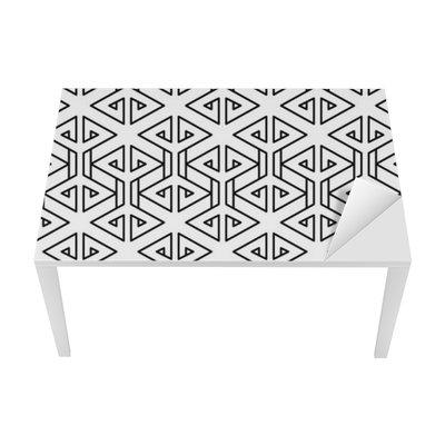 Sticker pour Table et Bureau Motif oreiller de mode abstrait géométrique hippie noir et blanc