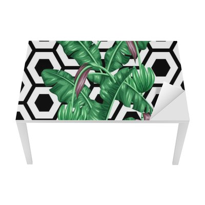Sticker pour Table et Bureau Seamless avec des feuilles de bananier. Image décorative de feuillage tropical, fleurs et fruits. Contexte faite sans masque d'écrêtage. Facile à utiliser pour toile de fond, le textile, le papier d'emballage