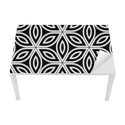 Sticker pour Table et Bureau Vector moderne seamless sacré de la géométrie, noir et blanc fleur abstraite géométrique de vie fond, papier peint impression, monochrome rétro texture, design de mode hipster