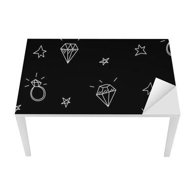 Sticker pour Table et Bureau Vector seamless pattern avec des anneaux de mariage, des étoiles et des bijoux. éléments de tatouage old school. style Hipster