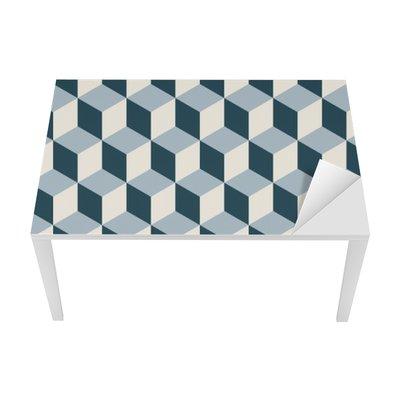 Sticker pour Table et Bureau Vintage cubes 3d motif de fond. modèle vectoriel Retro.