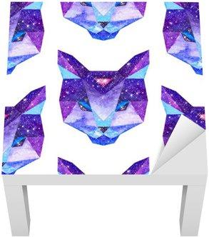 Sticker pour Table Lack Aquarelle animaux cosmiques. Main illustration dessinée