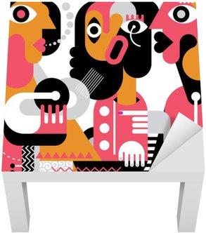 Sticker pour Table Lack Portrait de trois femmes.