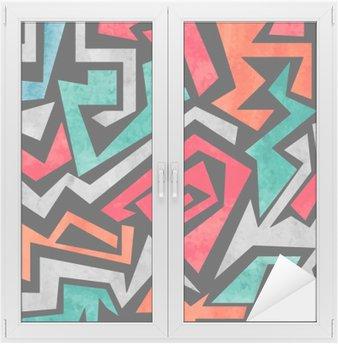 Sticker pour Vitres et Fenêtres Aquarelle graffiti seamless. Vecteur coloré fond abstrait géométrique dans les couleurs rouge, orange et bleu.