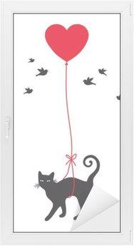 Sticker Vitre Chat avec ballon de coeur, vecteur