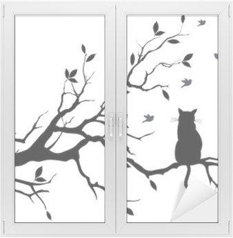 Sticker Vitre Chat sur un arbre avec des oiseaux, vecteur