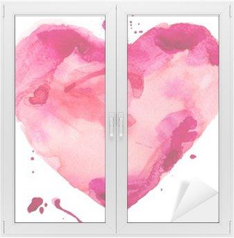 Sticker pour Vitres et Fenêtres Coeur d'aquarelle. Concept - l'amour, les relations, l'art, la peinture