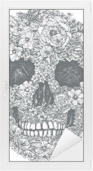 Sticker Vitre Fleur Vecteur de crâne