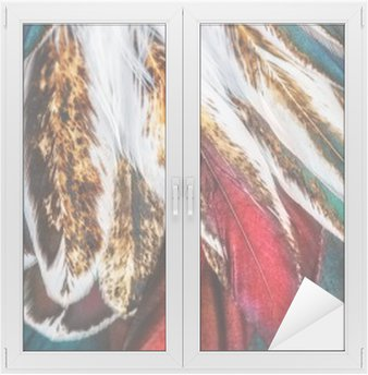 Sticker Vitre Groupe de plumes marron brillant d'un oiseau