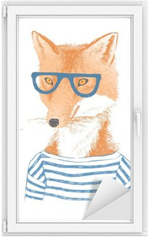 Sticker pour Vitres et Fenêtres Hand Drawn habillé renard dans le style hipster