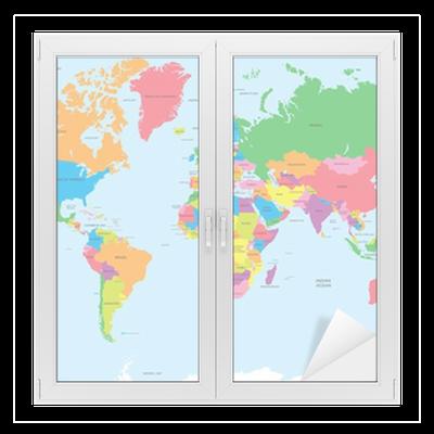 sticker vitre la carte politique du vecteur du monde pixers nous vivons pour changer. Black Bedroom Furniture Sets. Home Design Ideas