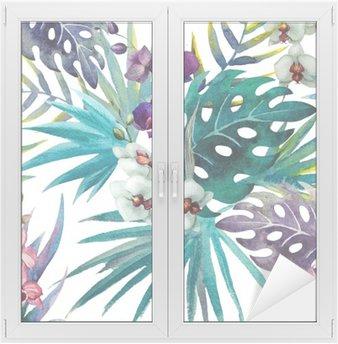 Sticker pour Vitres et Fenêtres Modèle de feuilles d'hibiscus orchidée, aquarelle