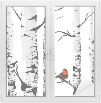 Sticker Vitre Oiseau de bouleaux, dessin vectoriel avec des éléments modifiables.