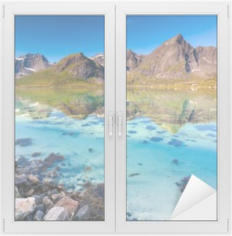Sticker pour Vitres et Fenêtres Paysage pittoresque de la Norvège campagne