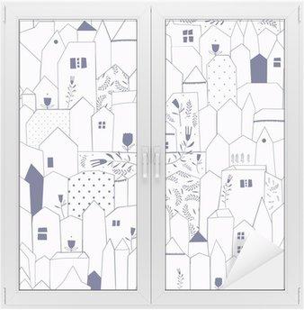 Sticker Vitre Seamless pattern. Figure villes de style vintage.