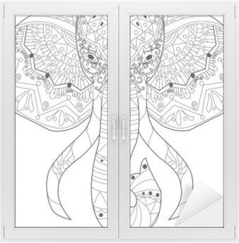 Sticker Vitre Vecteur de coloriage Elephant pour les adultes