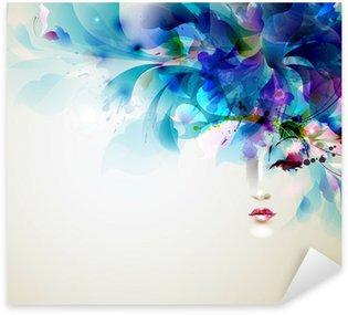 Pixerstick Sticker Prachtige abstracte vrouwen met abstracte ontwerp elementen
