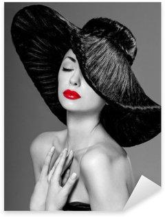 Pixerstick Sticker Prachtige vrouw in een hoed