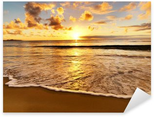Pixerstick Sticker Prachtige zonsondergang op het strand
