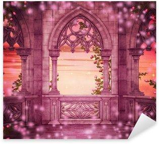 Sticker Pixerstick Princesse de château d'imagination Toile de fond