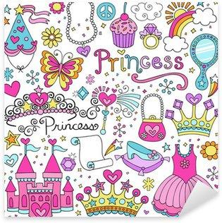 Pixerstick Sticker Prinses Sprookje Tiara Notebook Doodles Vector Set