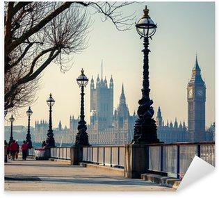 Sticker Pixerstick Promenade à Londres avec vue sur Big Ben et les Chambres du Parlement