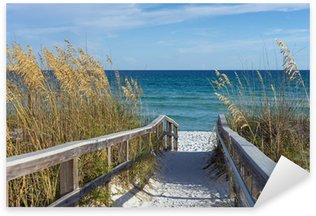 Sticker Pixerstick Promenade sur la plage avec des dunes et de l'avoine de sable