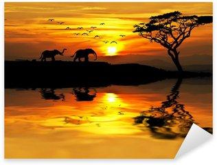 Sticker - Pixerstick puesta de sol en Africa