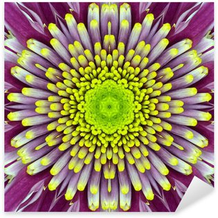 Purple Concentric Flower Center. Mandala Kaleidoscopic design Sticker - Pixerstick