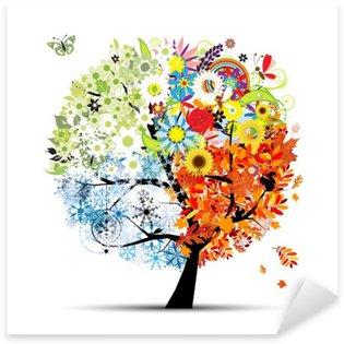 Sticker Pixerstick Quatre saisons - printemps, été, automne, hiver. Art tree