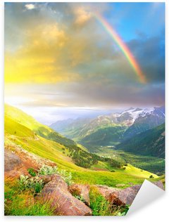 Rainbow after rain in the mountain valley. Sticker - Pixerstick