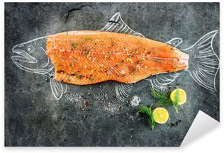 raw salmon fish steak with ingredients like lemon, pepper, sea salt and dill on black board, sketched image with chalk of salmon fish with steak Sticker - Pixerstick