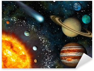 Sticker - Pixerstick Realistic 3D Solar System Wallpaper