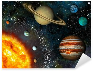Sticker - Pixerstick Realistic Solar System display contains the Sun and nine planets