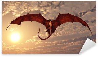 Pixerstick Sticker Red Dragon aanvallen van een zonsondergang hemel