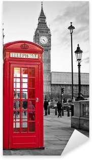 Sticker - Pixerstick Red phone booth in London with the Big Ben in black and white
