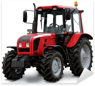 Red tractor isolated on white background Sticker - Pixerstick