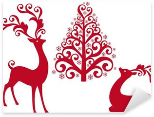 Pixerstick for All Surfaces reindeer with christmas tree, vector