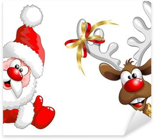 Pixerstick for All Surfaces Renna e Babbo Natale ok-Funny Santa Claus and Reindeer