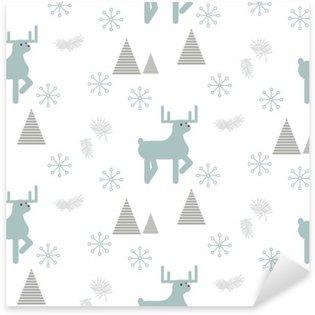 Sticker Pixerstick Renne dans un vecteur seamless de la forêt enneigée. blanc de style scandinave et bleu pastel fond.