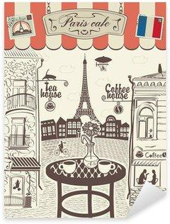 Sticker Pixerstick Restaurant rue parisienne avec vue sur la Tour Eiffel
