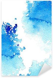 Sticker Pixerstick Résumé aquatique bleu foncé frame.Aquatic backdrop.Ink drawing.Watercolor tiré par la main image.Wet splash.White fond.