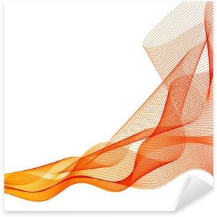 Sticker Pixerstick Résumé vecteur fond orange vague agita lignes