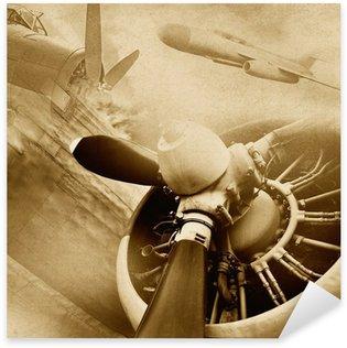 Sticker Pixerstick Retro aviation, fond de cru