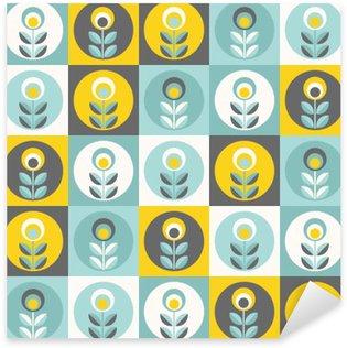 Pixerstick Sticker Retro bloemenpatroon, geometrische naadloze bloemen