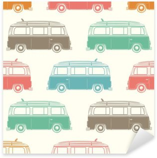 Sticker - Pixerstick Retro camper van with surfing board. Seamless pattern.