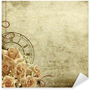 Sticker Pixerstick Rétro fond romantique vintage avec des roses et l'horloge