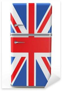 Pixerstick Sticker Retro koelkast met de Britse vlag op de deur