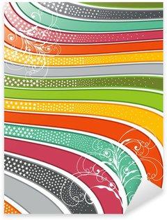 Sticker Pixerstick Rétro lignes ondulées brillant arc en ciel avec des remous