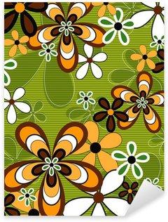 Sticker - Pixerstick retro orange and green flower power